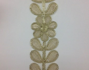 Embroidered Metallic Gold Lace Trim for Bridal Costume or Jewelry, Crafts and Sewing selling per yard