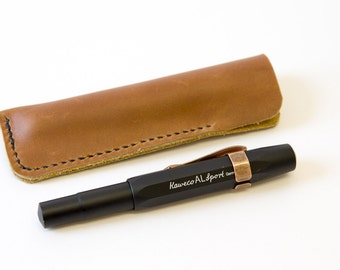 Leather Pen Case. Leather slip case in brown oil tanned leather. To fit Kaweco Sport or full size fountain pen.