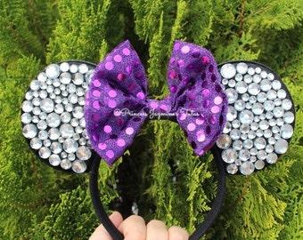 Minnie Mouse ears . Minnie ears . Minnie Mouse purple bow ears . Rhinestones Minnie ears . Purple bow