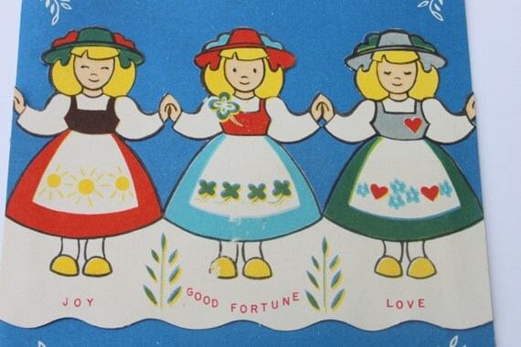 Vintage scandinavian girls unused birthday card love good like this item bookmarktalkfo Choice Image