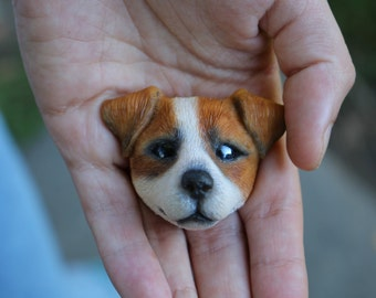 Brooch made of polymer clay dog Jack Russell Terrier