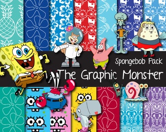 Spongebob Scrapbook Paper, Digital Scrapbook Paper Spongebob, Spongebob Digital Paper, Bikini Bottom Background, Spongebob Scrapbook