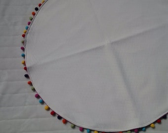 Playmat, Baby Playmat, Cream Playmat with Colored Pompom Trim, Nursery Decor, Reading Mat, Tummy Time Mat, Out and About Mat, Round Playmat