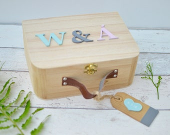 Custom Wedding Keepsake Box - Initials Gifts for the couple - Personalised Suitcase Style Wooden Memory Box