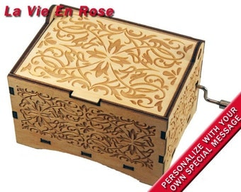 "Jewelry Music Box, ""La Vie En Rose"", Laser Engraved Wood Hand Crank Storage Music Box"