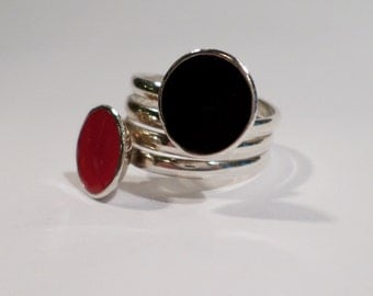 "Ring in sterling silver ""red&black"""