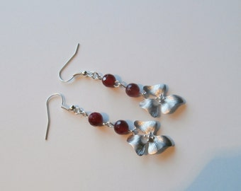 Rose red  Agate and matte silver flower earrings