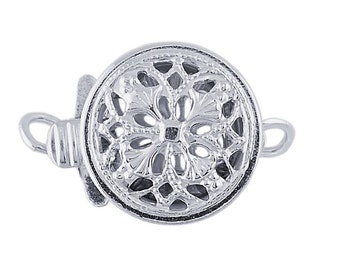 Sterling Silver Filigree Round Safety Clasp, 9.5mm