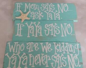 If mom says no ask YaYa, turquoise with starfish