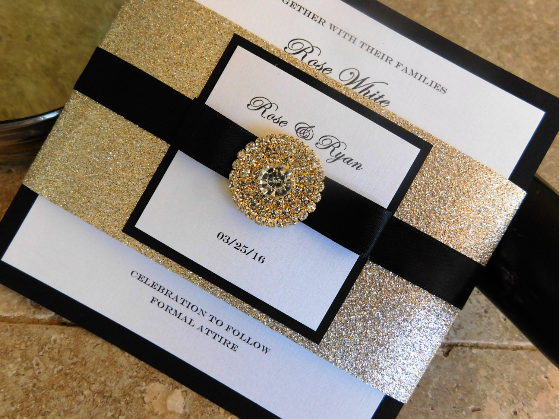 Black White And Gold Wedding Invitations: Black And Gold Wedding Invitation. Glamorous Bling Black