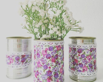 Set of 3 Upcycled Cans Purple