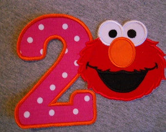 Made to order ~ Red Monster Number (You Choose a number) iron on or sew on applique patch