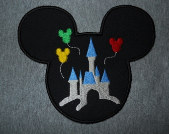 Made to order ~ Mr Mouse /Castle Iron on or Sew on applique Patch