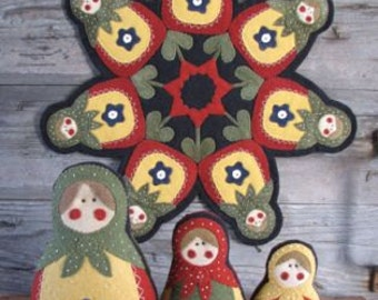 Badushka Doll and Applique PATTERN-Three size dolls and Applique Penny Rug