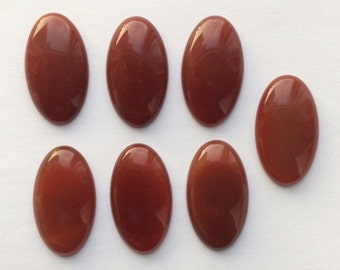 35x20mm Oval Red Carnelian cabochon - Lot of 7 pcs
