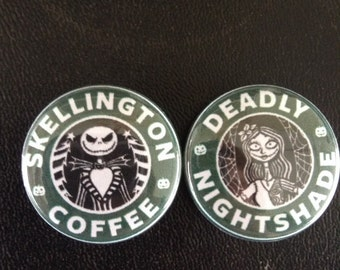 """Nightmare Before Christmas Jack and Sally Pin button 1"""""""