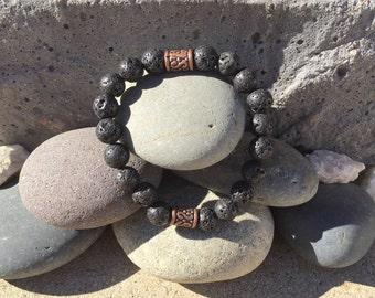 Black Lava Bronze Bracelet