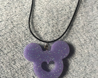 Glitter Lilac Disney Mickey Mouse Shaped Pendant