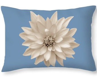 "Unique Sepia Grey Blue Dahlia Floral Abstract Throw Pillows,Hippie,Designer Cushion,Accent Pillow,Bohemian,Boho,Shabby Chic,20""x14"" Home Bed"