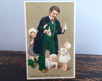 Antique Father's Day Postcard, Father of Three