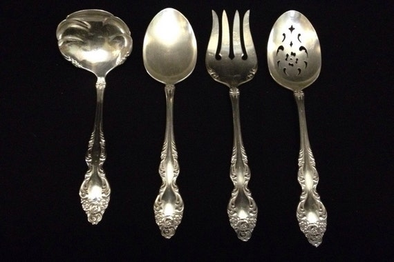 Charming-4 Piece-Baroque Rose-Oneida Ltd.-1881-Rogers-Silver Plate-Serving Set