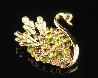 14k Yellow Gold plated Swarovski crystals swan brooch pin