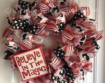 Christmas Mesh Wreath - Christmas Wreath - Santa Wreath - Believe In The Magic - Red and Black Wreath - Holiday Wreath - Santa Decor