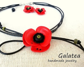 Poppy jewelry set Red poppy necklace Spring Poppy earrings Floral jewelry set Red and Black jewelry gift for Mom Red flowers jewelry