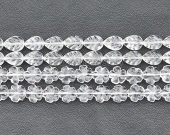 Sunflower/ Leaf Crystal Beads, Natural Clear Crystal Hand Carved Flower/ Leaves Shape Charm Beads (JY93)