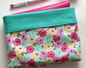 A5, Personal, Pocket Planner Reversible Protective Pouch - Pink Blue Yellow Floral Planner Pouch - Made to Order