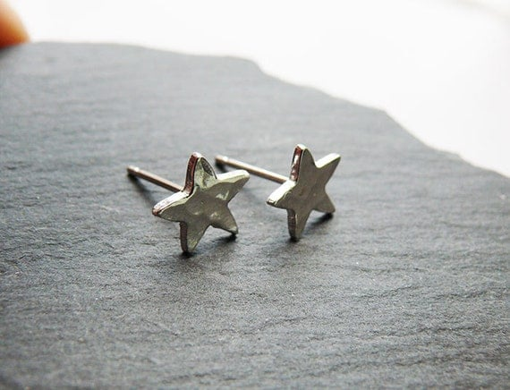 Silver Earrings - Silver Studs - Tiny Silver Hammered Stud Earrings