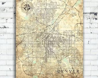 DENVER CO Canvas print Colorado CO Vintage map Denver Co City Map Vintage map Art poster Vintage retro old gift home decor pastel poster art
