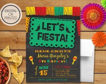 Fiesta Invitation, Fiesta Birthday Invitation, Mexican Birthday Invitation, Cinco De Mayo Invitations, Cinco De Mayo Birthday, Printable