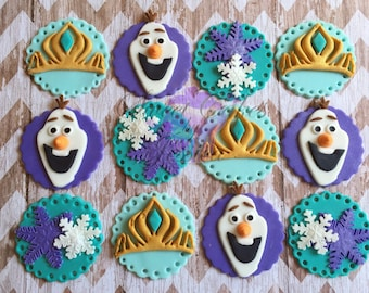 12 Fondant Frozen inspired cupcake toppers