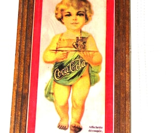 Coca cola picture frame little girl reprint from 1900 30 cm X 16 cm