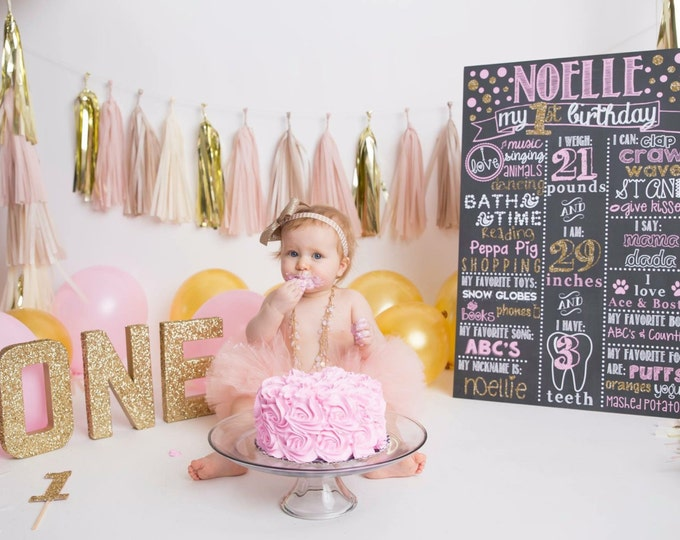 Pink and Gold Polka Dot First Birthday Chalkboard / Polka Dot First Birthday Chalkboard / Pink and Gold Polka Dot Birthday Board / Digital