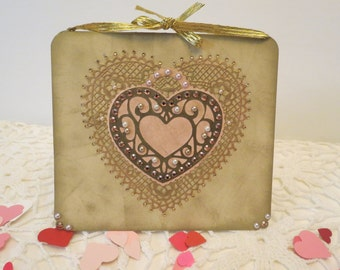 Golden Heart Locket Valentine Card w/ Sweetheart Confetti