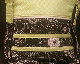 Handmade black and white whimsical floral fabric with lime green accent material