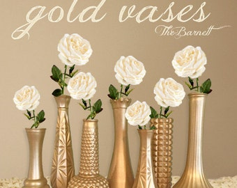 Gold Vases, Gold Wedding, Gold Centerpieces, Gold Bud Vase, Gold Decor