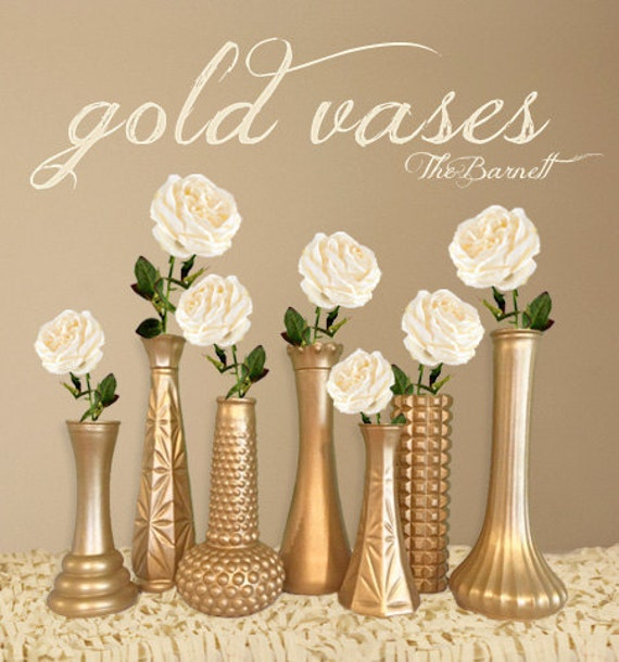 Gold Wedding Centerpiece Decorations: Gold Vases Gold Wedding Gold Centerpieces Gold Bud Vase