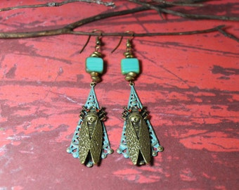 Mixed Metal & Glass Insect Earrings
