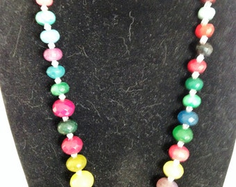 Multi coloured quartz necklace with gold plated clasp