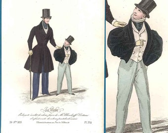 1833 boy gentleman fashion print antique handcoloured La Mode Romantic era
