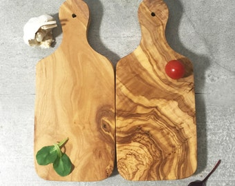 Set of 2 Olive Wood Cutting Boards / Chopping Board, small, rectangular shape with handle