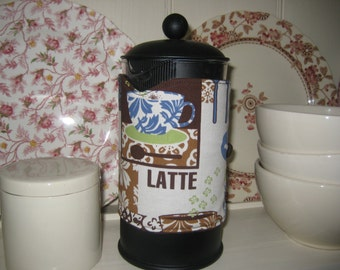 Cafetiere/French press cosy with cups and spoons print