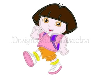 "exploring girl applique machine embroidery design- 3 sizes 4x4"", 5x7"", 6x10"""
