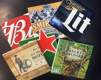 Beer Coasters- Handmade Ceramic Tile Beer Coasters - Man Cave Coasters