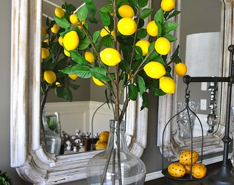 Lemon spray, lemon stems, lemons on stems, faux lemons and foliage, lemon arrangement, set of 3 stems