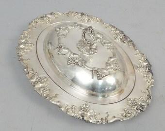Sheffield Silver Co. Grape Grapevine Leaf Serving Dish Bowl with Lid Antique Servingware Tableware