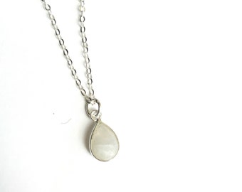 Sterling Silver Bezel Set Teardrop Gemstone Necklace with Initial Charm Add-On